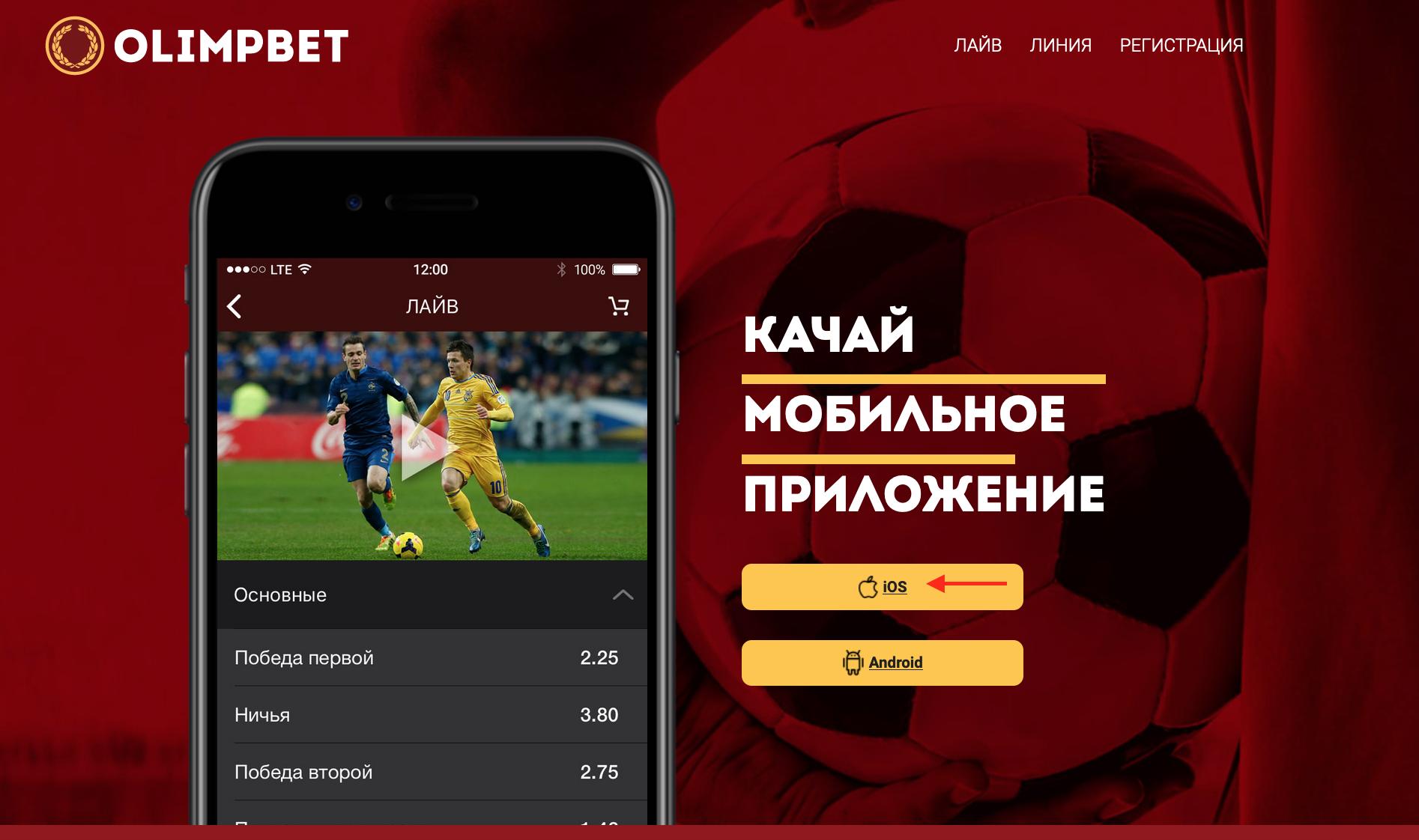 мобильное приложение Олимп на Айфон